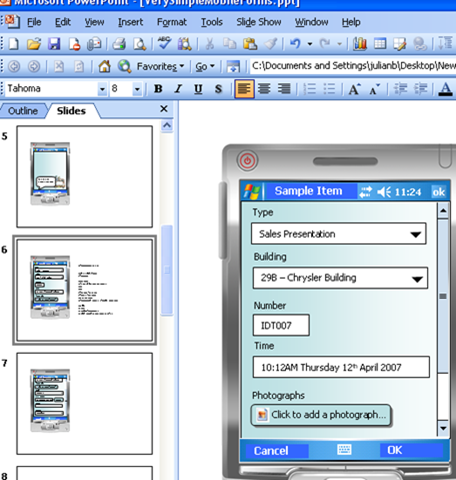 Sample PDA Application Screenshot
